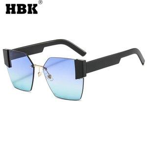 HBK 2021 NUEVOS Gafas de sol cuadradas sin montura para mujeres Hombres Vintage Diseño de moda de gran tamaño Gradiente UV400 Gafas de sol