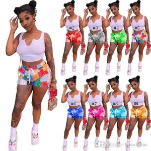 644270855 Women Tracksuits Sexy 2 Piece Set Casual Sports Outfit Sleeveless Tank Top + Mini Shorts Summer Clothing Clubwear Print Jogger Suit 835