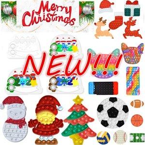 НОВЫЙ!!! Рождественские Fidget Toys Push It Bubble Antistress Игрушки Новый год Антистрессовые Сенсорные Подарки Подрогко сдавливающие подарки Подарки Стресс Reliver Bence Сумка Монета Кошелек DHL Быстрый