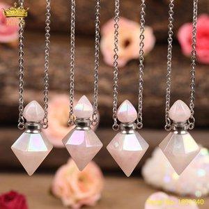 Doğal Aura Pembe Güller Kuvars Piramit Parfüm Yağı Şişesi Kolye Kolye Kadınlar Elektroliz Kristal Elmas Difüzör Takı