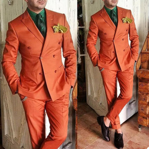 Smart Casual Mens Pants Suits Double Breasted Groom Best Man Coat Business Wedding Blazer Tuxedos (Jacket+Pants)