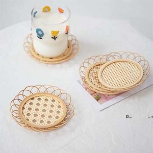 Handmade Bamboo Woven Lace Coaster Rattan Woven Cup Holder Saucer Drink Cup Coasters Japanese Bamboo Woven Saucer Mat FWD10332