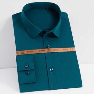 Men Classic Rim Free Tracks Basic Рубашки Pocket Memble Design Комфортное дыхание Длинные Mouwen Easy-Care Tops Рубашка