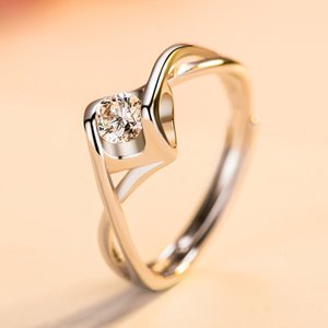 Factory New silver lovers' ring, open mouth live zircon female six claw Wedding Ring Jewelry