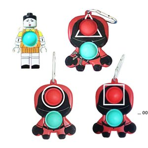 Newest Push Fidget Toy Sensory Squeeze Decompression Toys Squid Game Keychain LLA9261