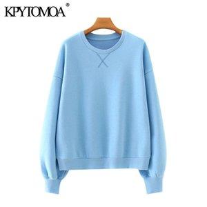 KPYTOMOA Kadınlar Moda Gevşek Temel Tişörtü Vintage O Boyun Uzun Kollu Kadın Kazaklar Chic Tops LJ200902