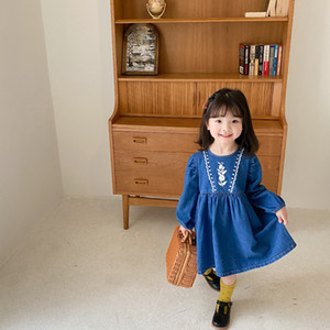 AMBB INS Kids Girls jean dresses kids lapel long sleeve casual denim dress floral dress fashion fall girl clothes