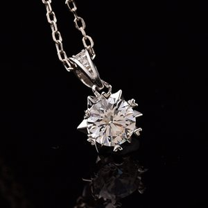 Geoki passa Diamond Test 1 CT Snowflake Moissanite Collier Moissanite Femmes 925 Sterling Argent Rond Blanc Pierre Gem Pendentifs Colliers