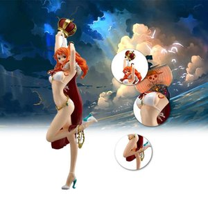 26 Cm One Piece Anime Series Hand-made Model Nami Bikini Standing PVC Doll Model Doll Toy Collection Gift G0911