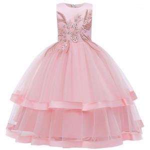 Çiçek çocuk düğün parti nedime çocuk uzun işlemeli boncuklu elbise kız prenses yılbaşı partisi top cemaat dress1