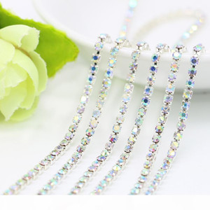 Closed Rhinestone Cup Chain With Crystal AB Rhinestone Silver Cup Base Chains For Jewelry Findings Making, SS6.5-SS12, 10Meters Pack