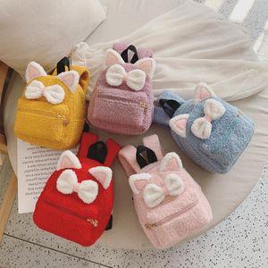 Little Kindergarten New Children's Backpack Cat Plush Cartoon Bag School Baby Bowknot Girl Atlrk