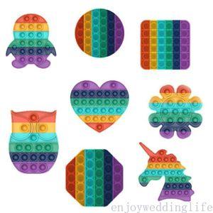 Hot Sale Push Popit Bubble Sensory Fidget Toy Autism Squishy Stress Reliever Toys Adult Kid Unicorn Pop it Fidget Toys DHL Shipping