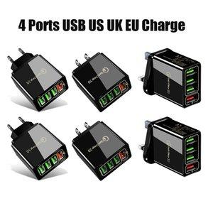 Carga rápida 3.0 4.0 carregador USB 3.1A Carregador de telefone celular de parede rápida para 4 portas adaptador QC 3.0 carregador