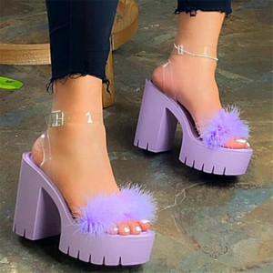 Designer 2021 summer new hairy high heels thick heel sandals womens fashion large size casual platform slippers women shoes