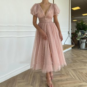 Glitter Blush Pink Short Homecoming Dresses V-Neck Puff Sleeves Pleated Tulle Prom Party Dress Buttons Tea Length A-Line Graduation Gowns
