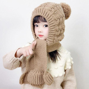 New Winter Cute Baby Kids Knitted Hat Warm Plush Caps Scarf One-piece Children Knitted Beanies Boys Girls Hats