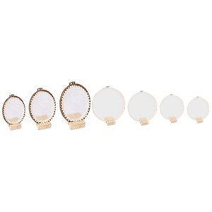 3Pcs Lace Embroidered Shed Bamboo Earrings Stand & 4Pcs Ferris Wheel Shaped Thin Lace Suspension Earrings Storage Stand