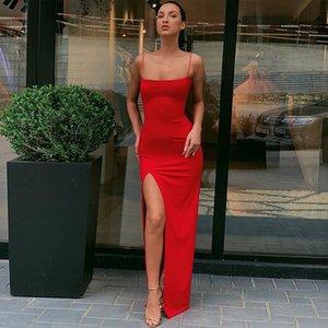 2021 European and American summer fashion season new sling word collar slim backless sexy split dress women's clothing