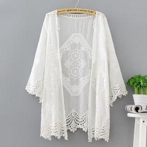 Women's Trench Coats 2021 Beach Summer Sexy Women Casual Boho Kimono Cardigan White Lace Organza Loose Printed Blouse Shirt Plus Size Tops B