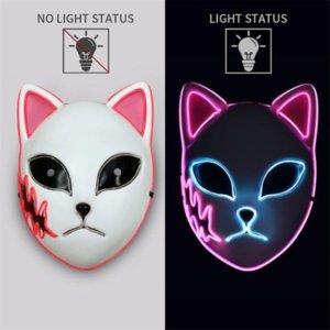 New Anime Plastic LED Light Cosplay Party Mask Halloween Glow Demon Slayer Tanjirou Sabito Makomo Headwear Hannya Tengu Masks FY9560