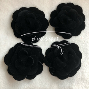 black velvet camellia DIY Part 8X8CM self-adhesion camellia flower for C VIP stick on bag or card for boutique packing