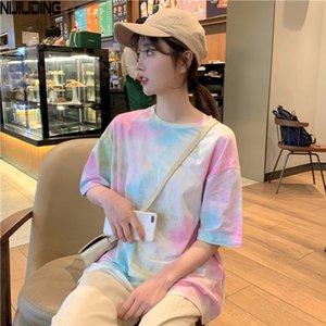 Camisetas de niquiudamiento para mujeres 2020 de verano Nuevo Rosa Vintage Vintage O-cuello de manga corta Tops de fondo femenino Tallas grandes XXL