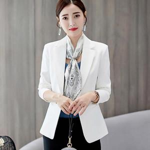 2021 Casual Womens White Blazer Solid Long Sleeve Blazer Women Suit Office Work One Button Slim Coat Jacket Tops feminino
