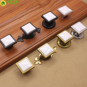 Handles & Pulls 2 Pcs Black White Handle Cabinet Door European Modern Wardrobe Drawer Single Hole Zinc Alloy Bright Chromium Square