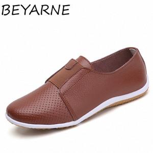 Beyarne été Femmes Découpez Sneakers Femme Véritable Cuir Mocassins Femme Chaussures Low Heels Femmes Chaussures plats blancs Dames Oxfords W60e #