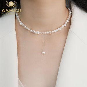 ASHIQI Natural Freshwater Pearl Choker Necklace Baroque pearl Jewelry for Women wedding 925 Silver Wholesale Jewelry Gift Q0127