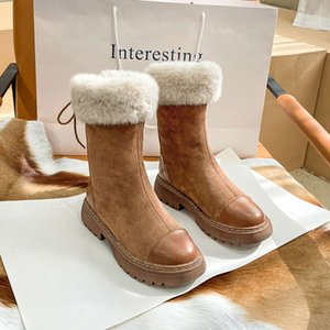 Designer new women's Snow Martin winter 2020 fur mid integrated barrel thickened short boots plush cotton shoes