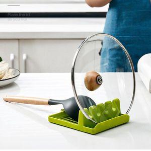 Küchenutensilien Restlöffel Pot Pan-Deckel-Töpfe Schaufelhalterwerkzeuge Lebensmittelqualität Kunststoffregal Grau und Grün FHL151-ZWL656