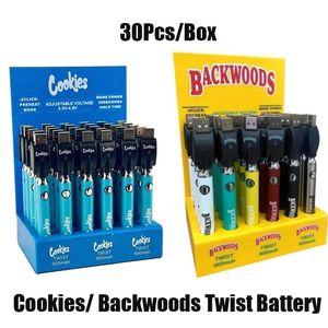 Cookies Backwoods Twist vv Батарея Дорогая Напряжение Регулируемая 900 мАч Vape Pen Cartridge 510 Эго с дисплейной коробкой 30 шт. Пакет DHL