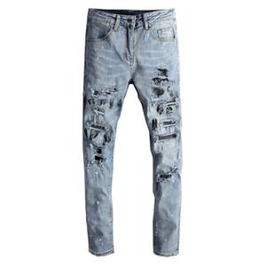 April Momo Men Streetwear inkt inkt dipinto Jeans Fashion Lightblue Gaten NY Stretch Denim Potlood Broek