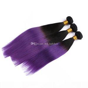 1B Purple Ombre Straight Hair 3 Bundles Brazilian Straight Human Hair Colored Two Tone Ombre Brazilian Hair Weaves 300G Lot