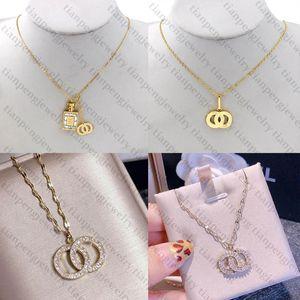 Top Gold Necklace C Letter Designer Necklace Designer Jewelry Crystal Diamond Pendant Necklaces Women Necklaces Banquet Gift Best Quality