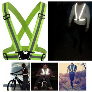 Adjustable Men Wome Reflective Vest Safety Security Tape High Visibility Vest Gear Stripes For Hiking Running Bicycle Walking 4x1.5cm
