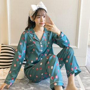 Kadın Pijama Saten İpek Pijama Kadınlar için Uzun Kollu Pijama Setleri Nokta Baskı Kadın Gecelikler 2 adet Loungewear Artı Boyutu Pijama Takım Elbise