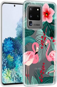 For Galaxy S20 Ultra 6.9 Inch Flaming Case 2020 Release, Flower Clear Design TPU Bumper Protective Silicone Shockproof Protective Case