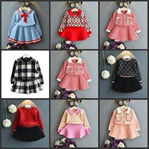 Daha Fazla Tasarım Çocuk Kız Giysileri Set Uzun Kollu Kazak Suit Giyim Suit Kıyafetler Çocuk Kız Giysileri için 494 Y2
