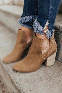 Monerffi Yüksek Topuk Çizmeler Üzerinde Kayma Perçin Ayakkabı Kadın Botas Mujer Ayak Bileği Topuk Kısa Çizmeler Katı Renk Kadın Rahat U9ET #
