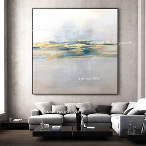 Artist - Handmade Large gold paint, large, abstract and elegant painting, texture, corridor and living room decorative oil painting