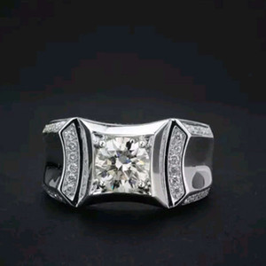 HBP fashion luxury men's aggressive ultra flash zircon ring with diamond back bottom cut-out, versatile and fashionable hand ornaments sell