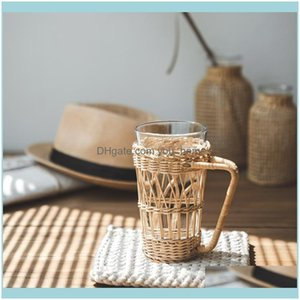 Drinkware Kitchen, Dining Bar Home & Garden1Pc Rattan Weaving Cup Sleeve Parctical Durable Handle With Transparent Wine Glasses Drop Deliver