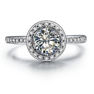 ثلاثة رجل حقيقي 925 الفضة الدائري 1ct nscd مقلد الماس خاتم الخطوبة للنساء ماركة المجوهرات