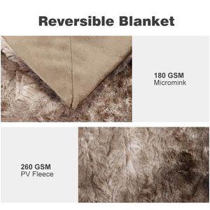 Langria Faux Fur Fleece Blanket Throw Soft Fur Throw Blanket On The Couch Long Shaggy Fuzzy Faux Bed Sofa jllAua sport77777