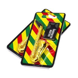 Calabrone durevole metallo sax sassofono sassofono a forma di tubo di tabacco sigaretta con tubi color oro detergenti per la bocca Dins Sniff 302 v2