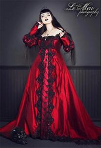Vintage Gothic Wedding Dresses Square Neck Long Sleeve Black Lace Rhinestones Red Wedding Gowns Custom Made Plus Size Vestidos de Novia