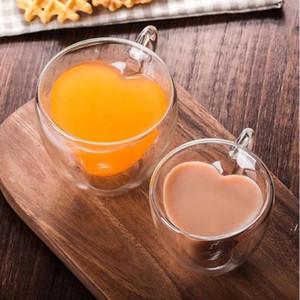 Bere tazze di tè in vetro doppio strato della parete tazza di tè resistente al calore resistente al calore creativo a forma di cuore doppio vetro tazza tazza tazza di caffè tazza di caffè nave HWB5436